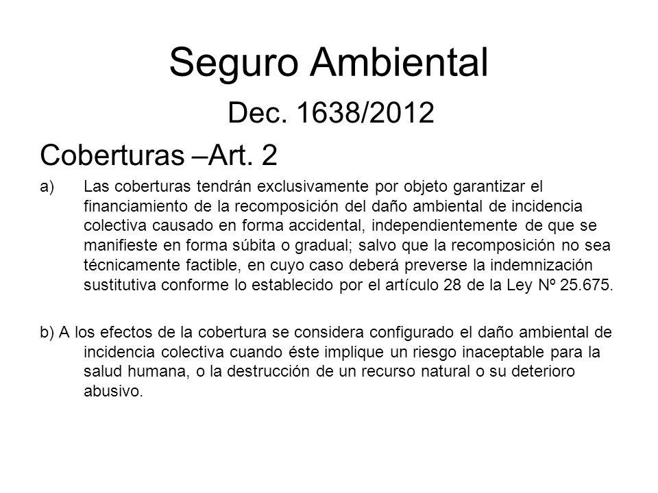 Seguro Ambiental Dec. 1638/2012 Coberturas –Art. 2