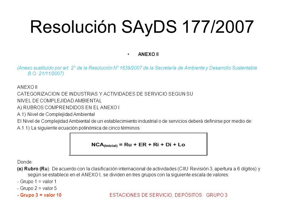 Resolución SAyDS 177/2007 ANEXO II