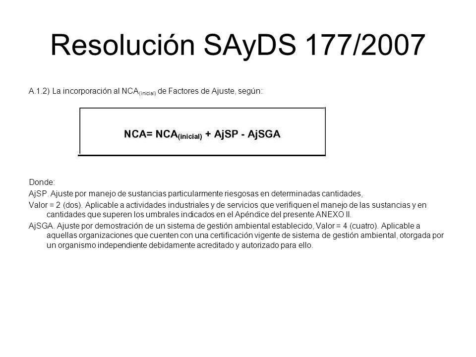 Resolución SAyDS 177/2007 A.1.2) La incorporación al NCA(inicial) de Factores de Ajuste, según: Donde:
