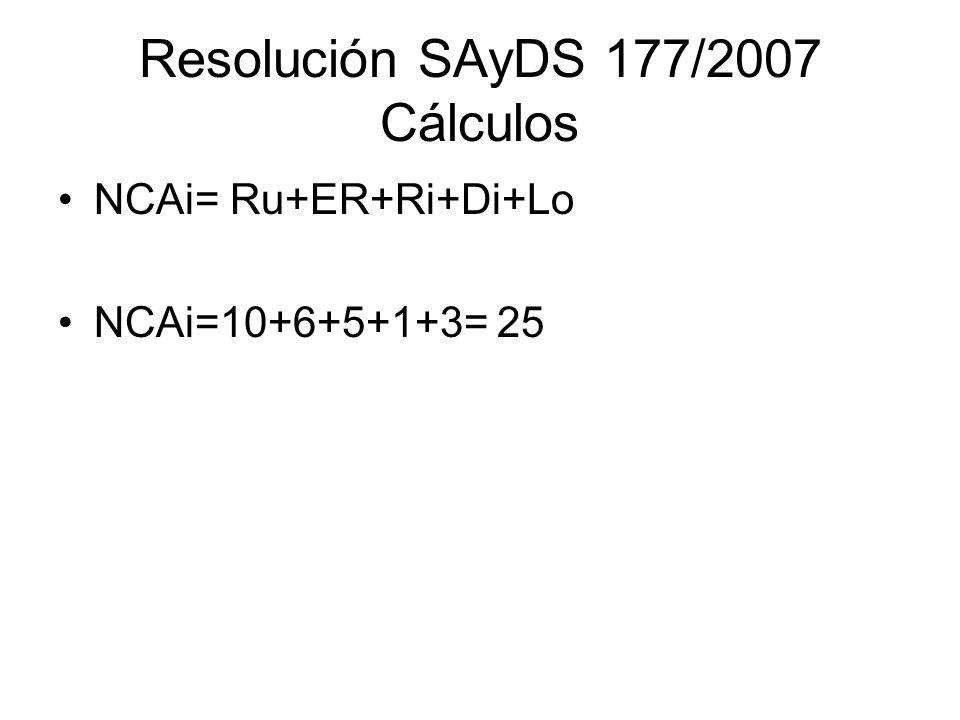 Resolución SAyDS 177/2007 Cálculos