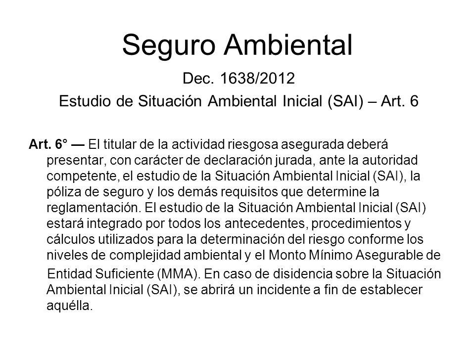 Estudio de Situación Ambiental Inicial (SAI) – Art. 6