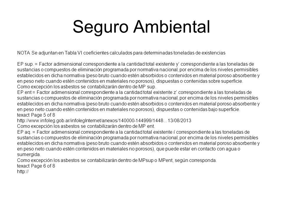 Seguro Ambiental NOTA Se adjuntan en Tabla VI coeficientes calculados para determinadas toneladas de existencias.