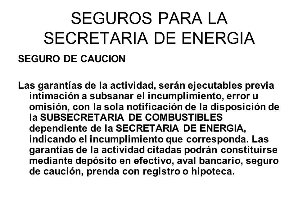 SEGUROS PARA LA SECRETARIA DE ENERGIA