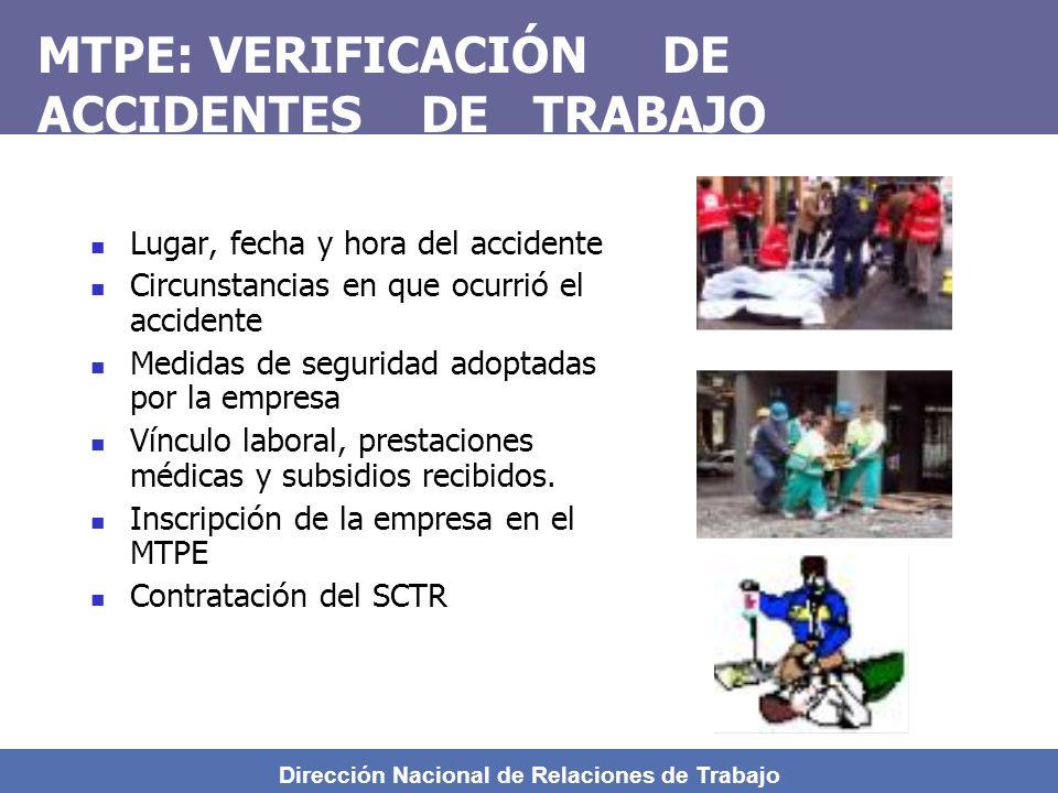 MTPE: VERIFICACIÓN DE ACCIDENTES DE TRABAJO