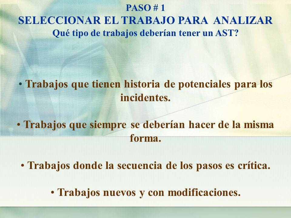 SELECCIONAR EL TRABAJO PARA ANALIZAR