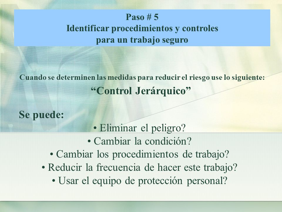 Identificar procedimientos y controles