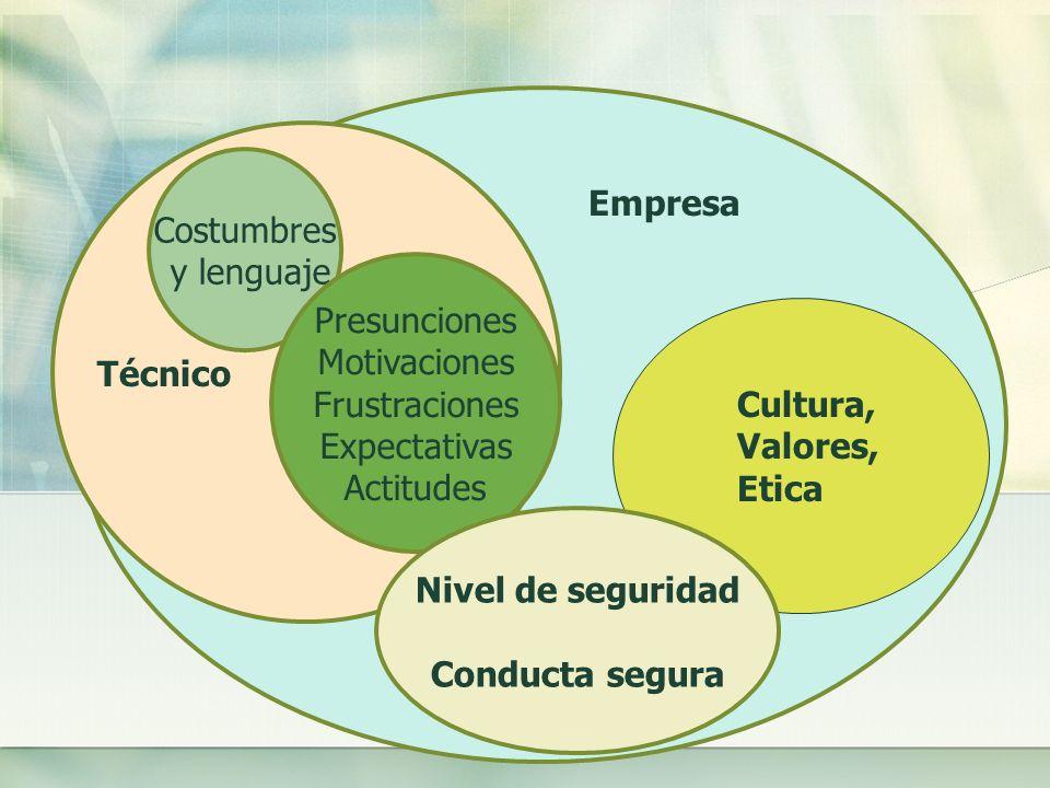 Técnico Costumbres. y lenguaje. Empresa. Presunciones. Motivaciones. Frustraciones. Expectativas.