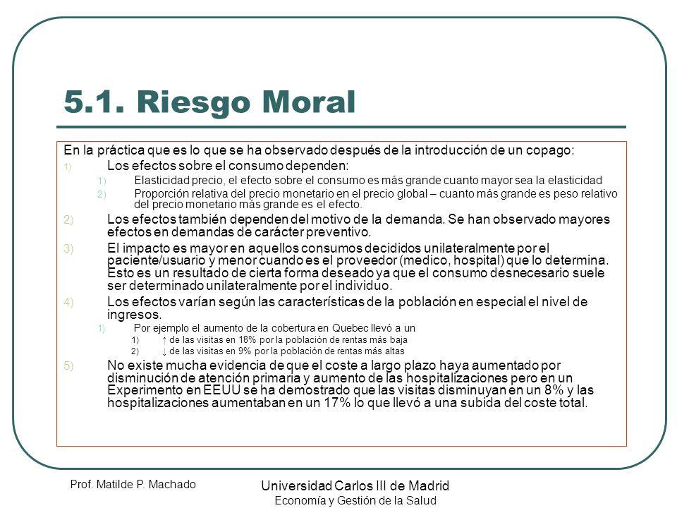 5.1. Riesgo Moral En la práctica que es lo que se ha observado después de la introducción de un copago: