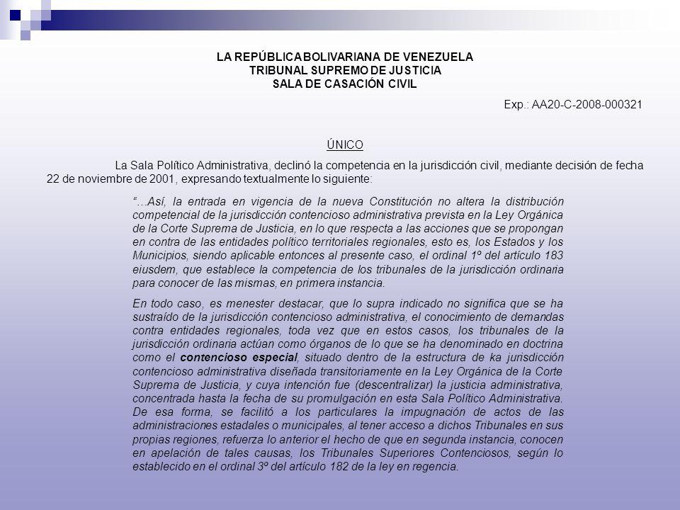 LA REPÚBLICA BOLIVARIANA DE VENEZUELA TRIBUNAL SUPREMO DE JUSTICIA