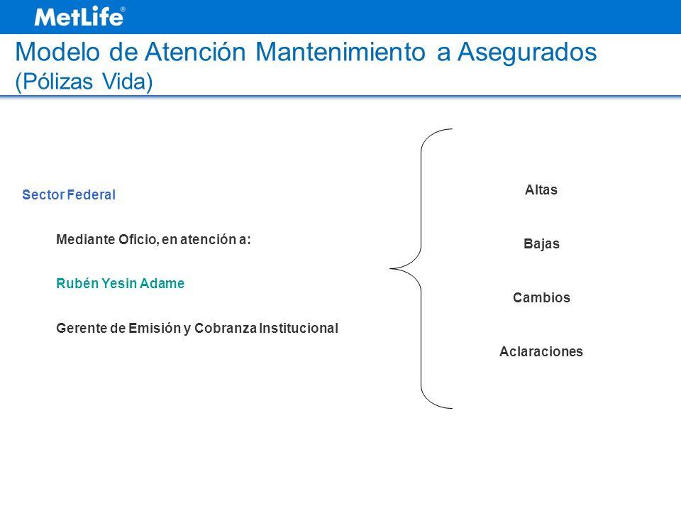 Modelo de Atención Mantenimiento a Asegurados (Pólizas Vida)