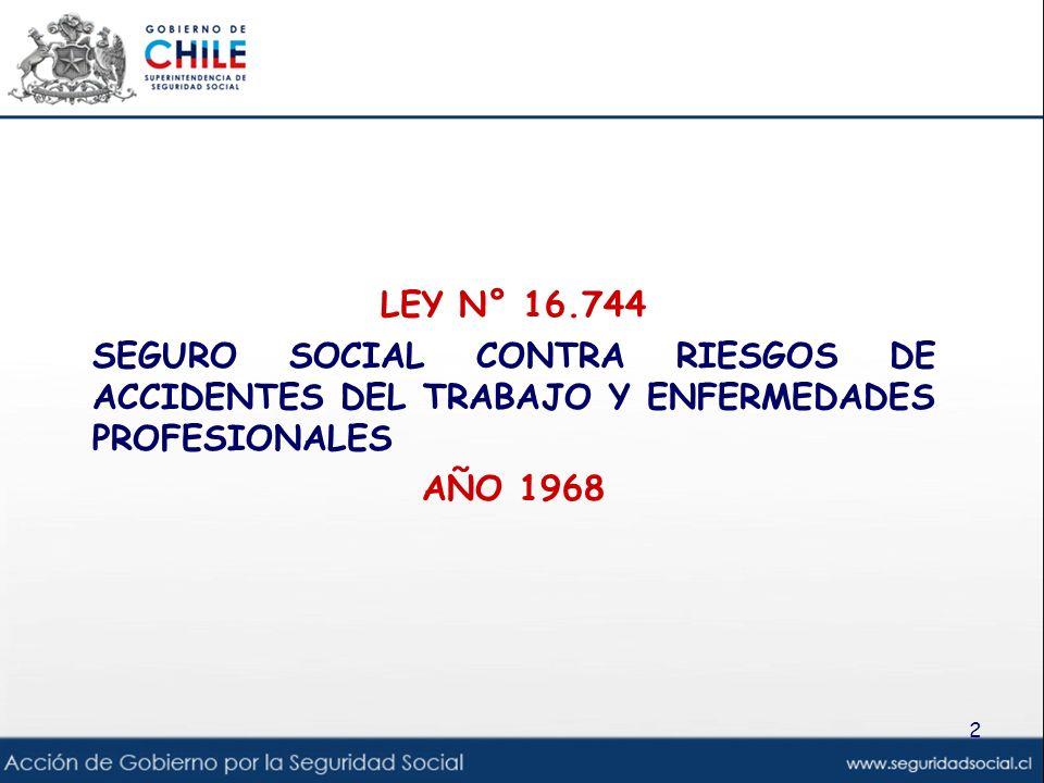 LEY N° 16.744 SEGURO SOCIAL CONTRA RIESGOS DE ACCIDENTES DEL TRABAJO Y ENFERMEDADES PROFESIONALES AÑO 1968