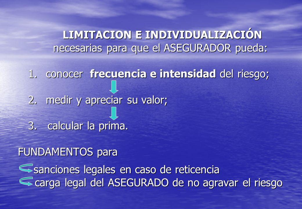 LIMITACION E INDIVIDUALIZACIÓN necesarias para que el ASEGURADOR pueda: 1. conocer frecuencia e intensidad del riesgo; 2. medir y apreciar su valor; 3.