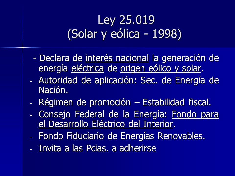 Ley 25.019 (Solar y eólica - 1998) - Declara de interés nacional la generación de energía eléctrica de origen eólico y solar.