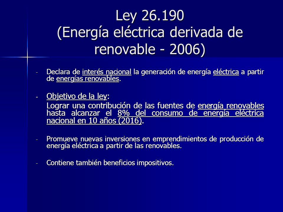 Ley 26.190 (Energía eléctrica derivada de renovable - 2006)
