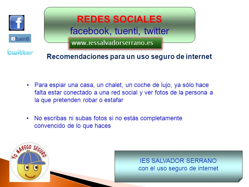 REDES SOCIALES facebook, tuenti, twitter