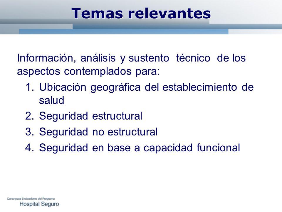 Temas relevantes Información, análisis y sustento técnico de los aspectos contemplados para: Ubicación geográfica del establecimiento de salud.