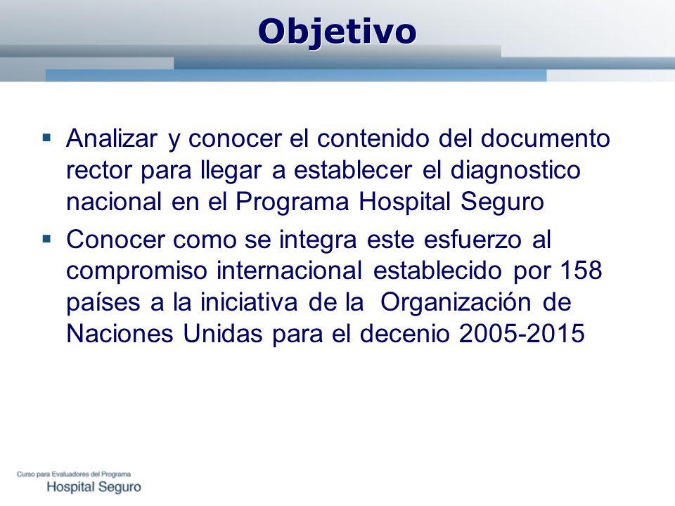 Objetivo Analizar y conocer el contenido del documento rector para llegar a establecer el diagnostico nacional en el Programa Hospital Seguro.