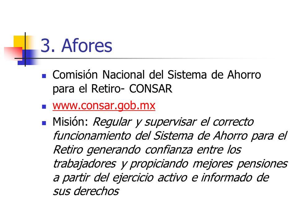 3. Afores Comisión Nacional del Sistema de Ahorro para el Retiro- CONSAR. www.consar.gob.mx.