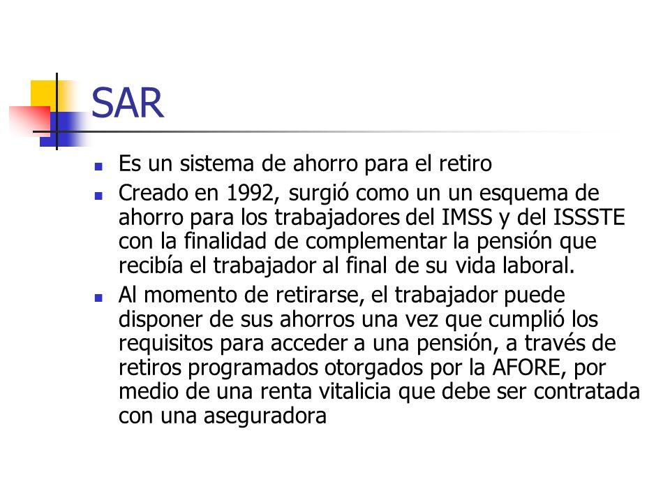 SAR Es un sistema de ahorro para el retiro