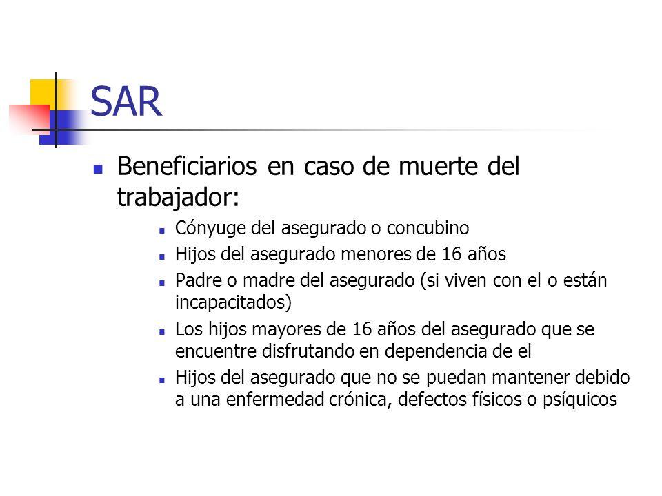 SAR Beneficiarios en caso de muerte del trabajador: