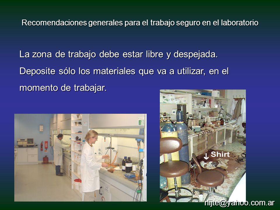 Recomendaciones generales para el trabajo seguro en el laboratorio