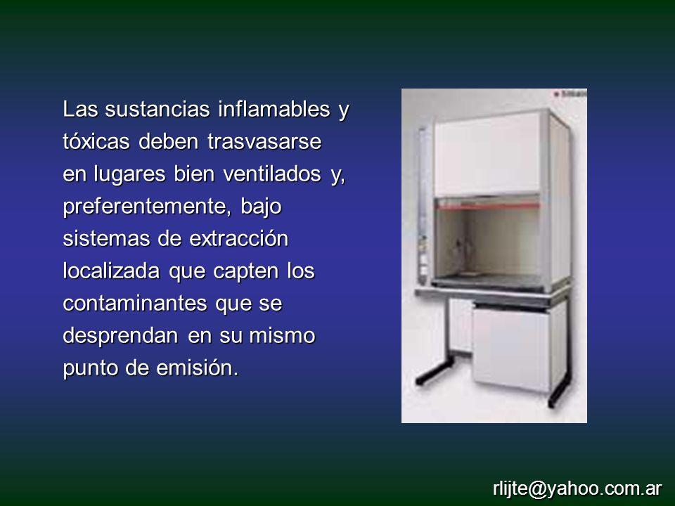 Las sustancias inflamables y tóxicas deben trasvasarse en lugares bien ventilados y, preferentemente, bajo sistemas de extracción localizada que capten los contaminantes que se desprendan en su mismo punto de emisión.