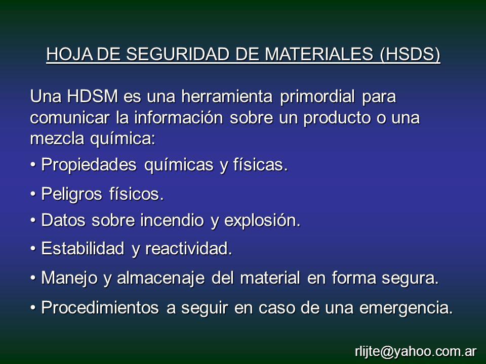 HOJA DE SEGURIDAD DE MATERIALES (HSDS)