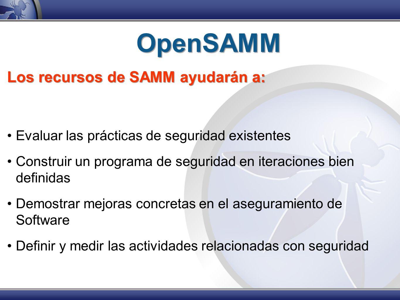 OpenSAMM Los recursos de SAMM ayudarán a: