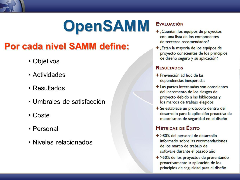 OpenSAMM Por cada nivel SAMM define: Objetivos Actividades Resultados