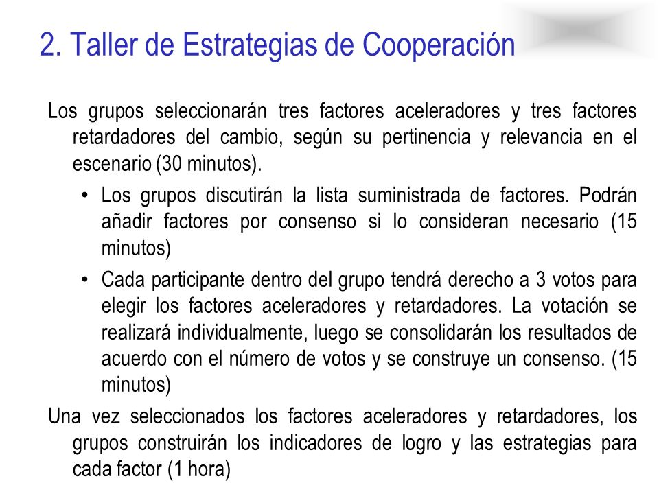 2. Taller de Estrategias de Cooperación