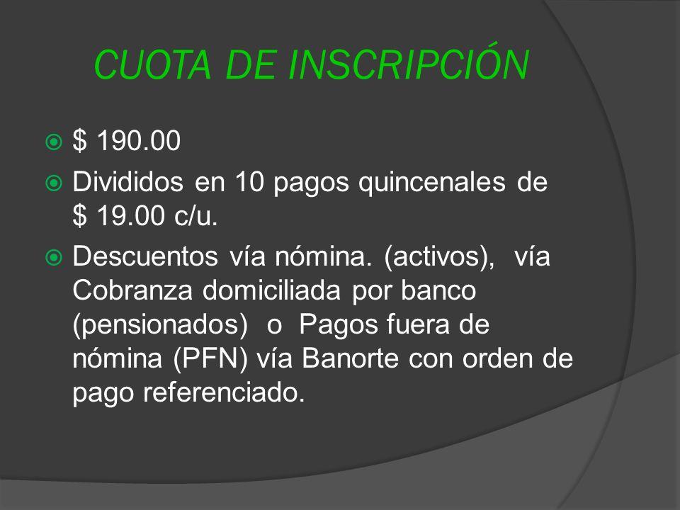 CUOTA DE INSCRIPCIÓN $ 190.00. Divididos en 10 pagos quincenales de $ 19.00 c/u.