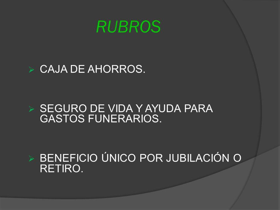 RUBROS CAJA DE AHORROS. SEGURO DE VIDA Y AYUDA PARA GASTOS FUNERARIOS.