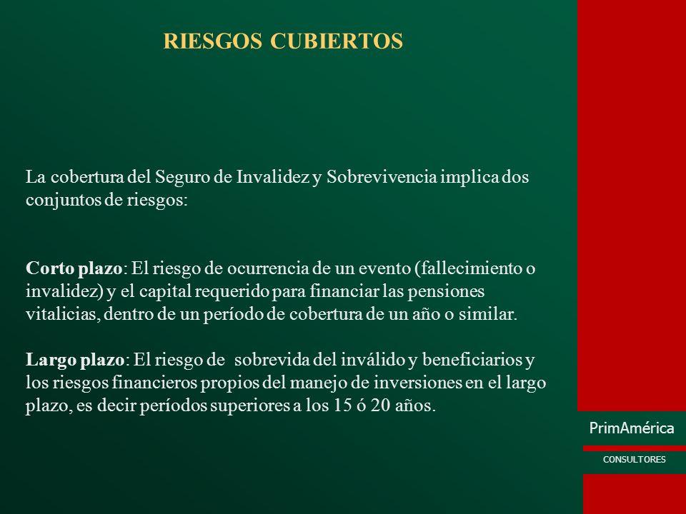 RIESGOS CUBIERTOSLa cobertura del Seguro de Invalidez y Sobrevivencia implica dos conjuntos de riesgos:
