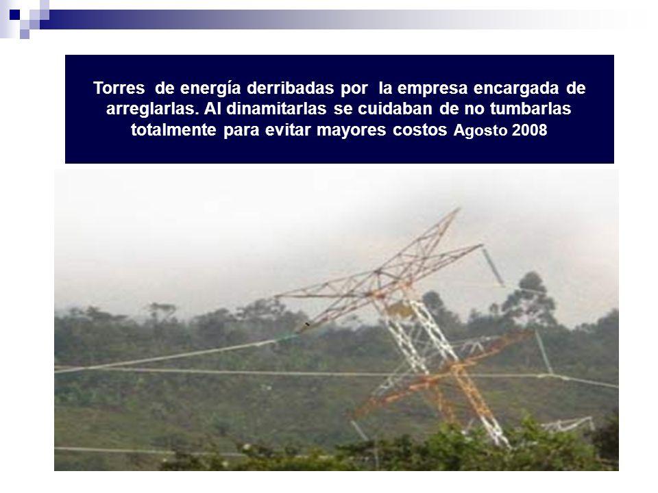 Torres de energía derribadas por la empresa encargada de arreglarlas