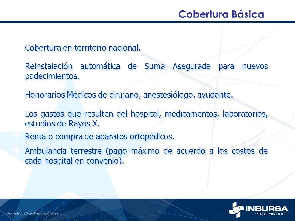 Cobertura Básica Cobertura en territorio nacional.