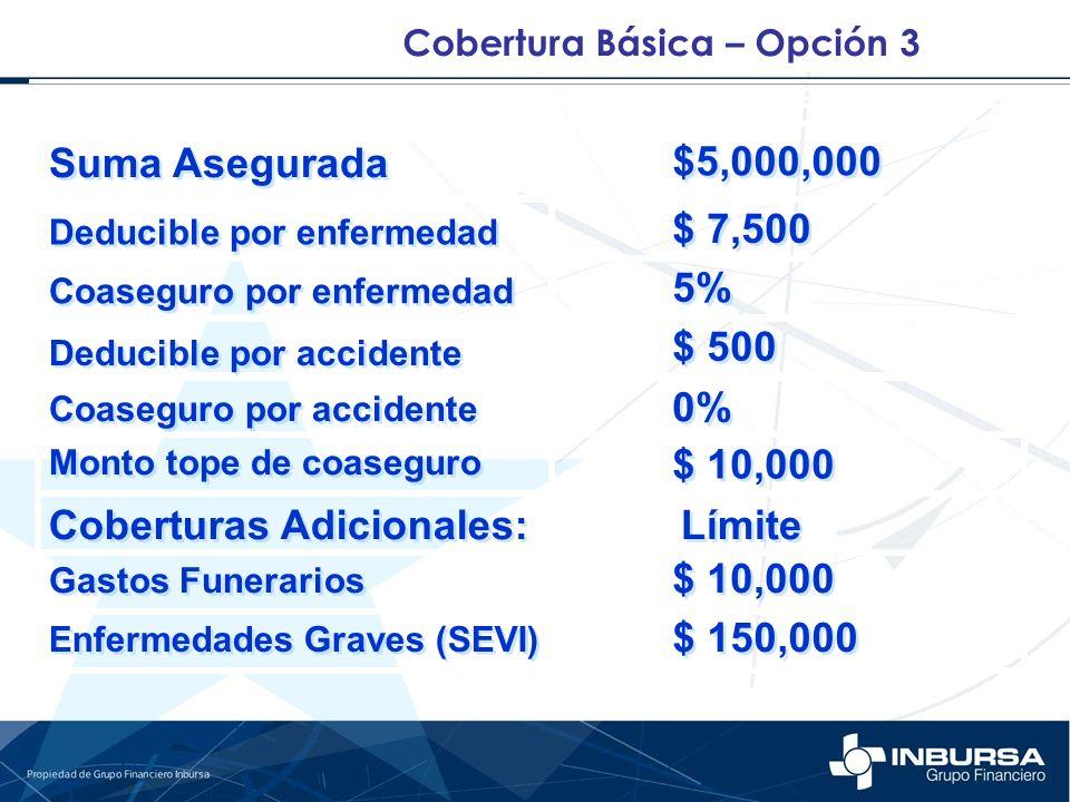 Coberturas Adicionales: Límite $ 10,000 $ 150,000