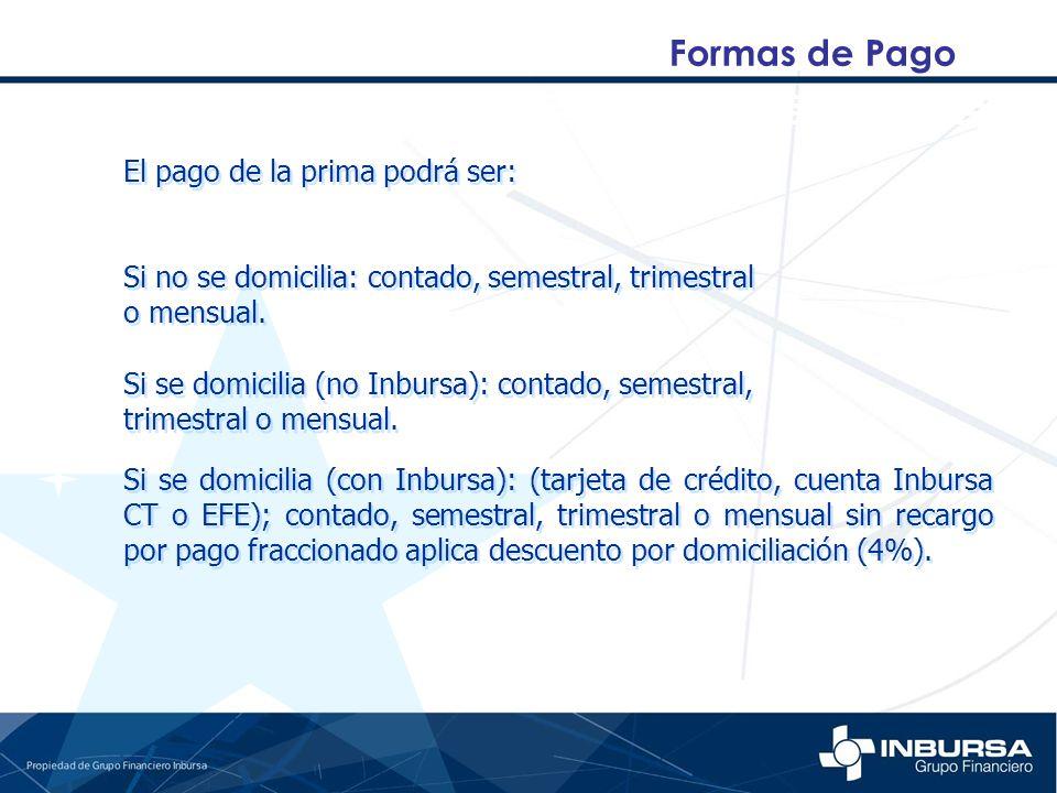Formas de Pago El pago de la prima podrá ser: