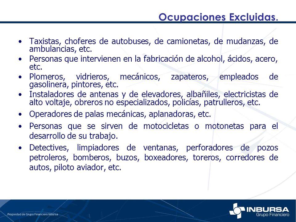 Ocupaciones Excluidas.
