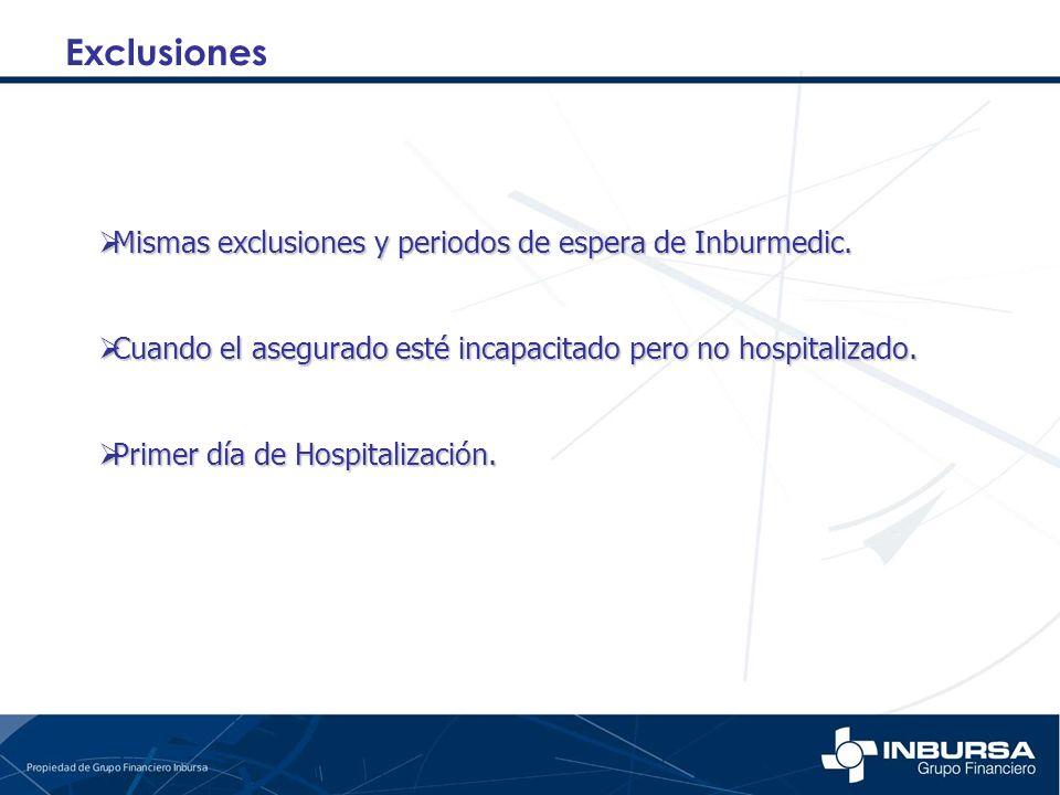 Exclusiones Mismas exclusiones y periodos de espera de Inburmedic.