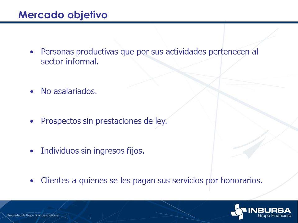 Mercado objetivo Personas productivas que por sus actividades pertenecen al sector informal. No asalariados.