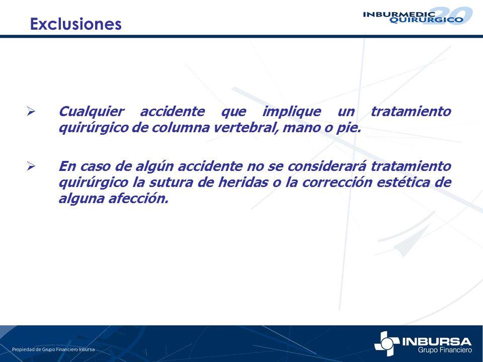ExclusionesCualquier accidente que implique un tratamiento quirúrgico de columna vertebral, mano o pie.