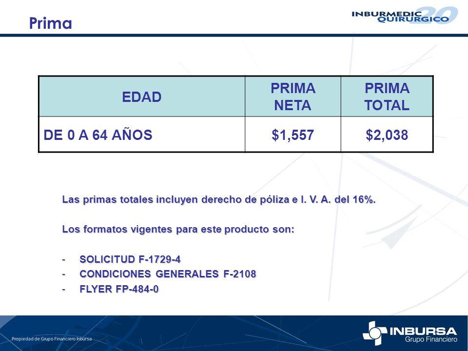 Prima EDAD PRIMA NETA PRIMA TOTAL DE 0 A 64 AÑOS $1,557 $2,038