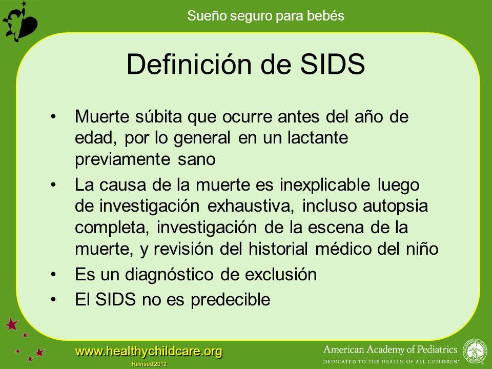 Definición de SIDS Muerte súbita que ocurre antes del año de edad, por lo general en un lactante previamente sano.
