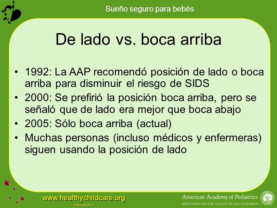 De lado vs. boca arriba 1992: La AAP recomendó posición de lado o boca arriba para disminuir el riesgo de SIDS.