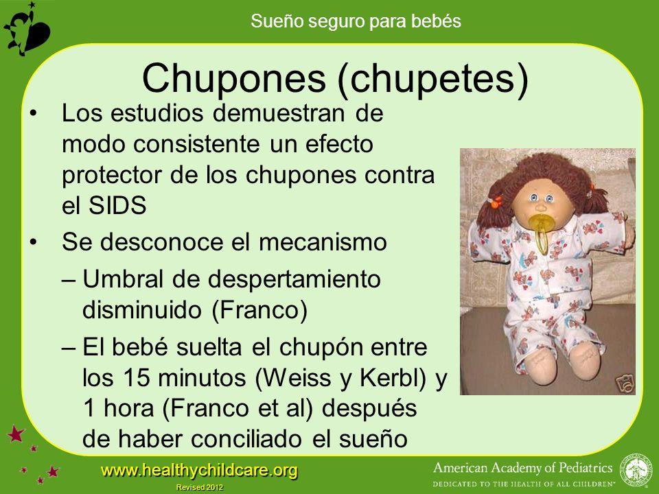 Chupones (chupetes) Los estudios demuestran de modo consistente un efecto protector de los chupones contra el SIDS.