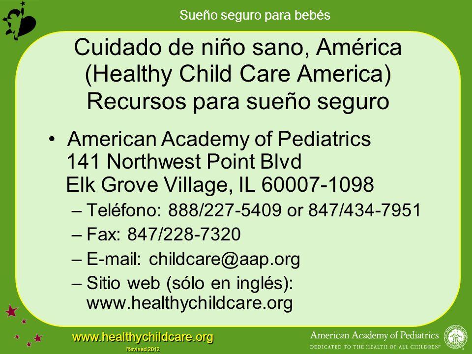 Cuidado de niño sano, América (Healthy Child Care America) Recursos para sueño seguro