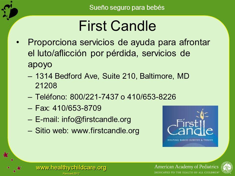First Candle Proporciona servicios de ayuda para afrontar el luto/aflicción por pérdida, servicios de apoyo.