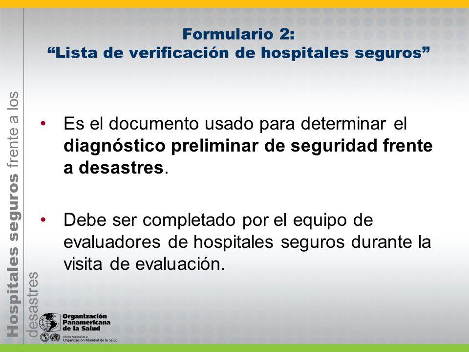 Formulario 2: Lista de verificación de hospitales seguros
