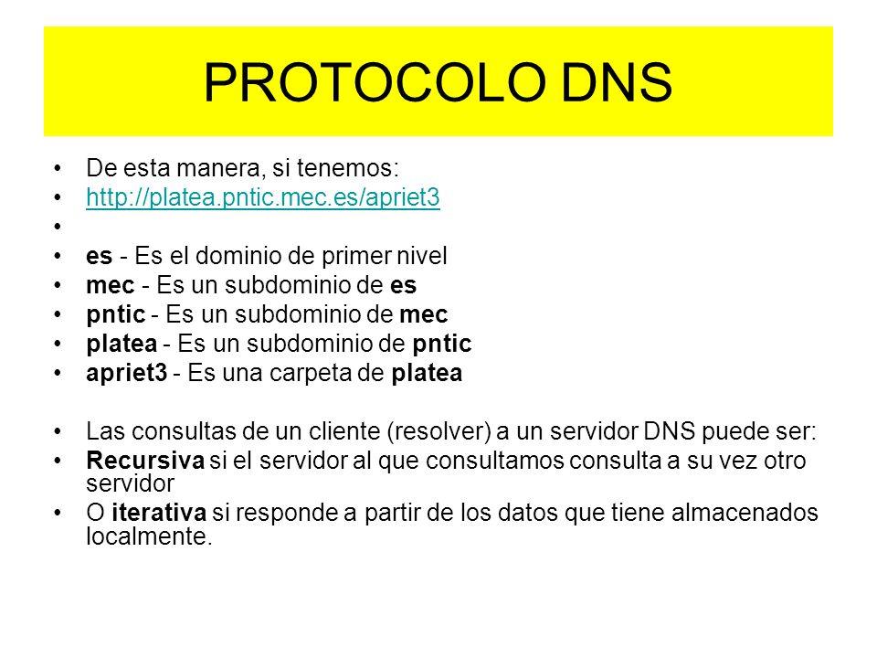 PROTOCOLO DNS De esta manera, si tenemos: