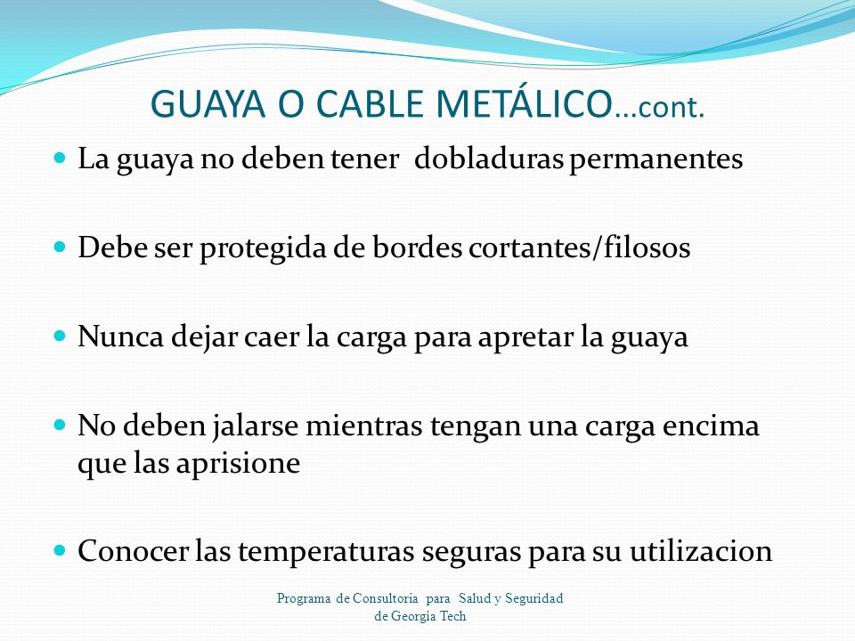 GUAYA O CABLE METÁLICO...cont.